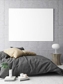 Chambre avec affiche de maquette sur le fond du mur