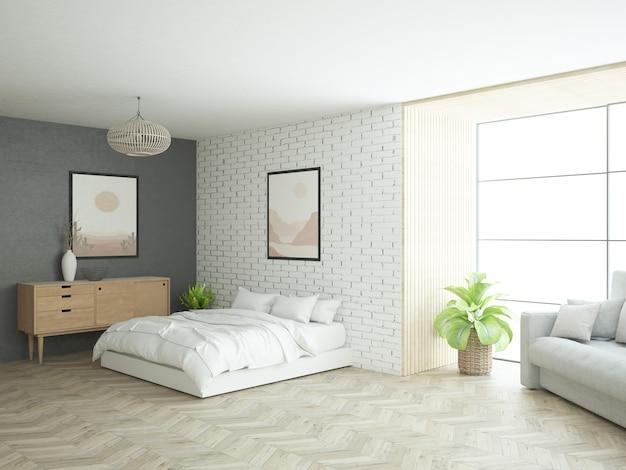 Chambre d'appartement loft avec grande fenêtre et mur de briques