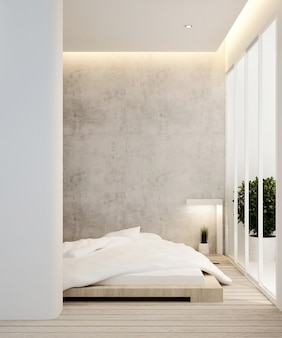 Chambre et balcon dans un hôtel ou un appartement - aménagement intérieur - rendu 3d