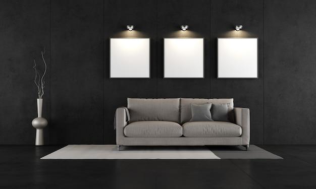Chambre en béton noir avec canapé moderne