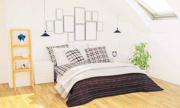 Chambre avec cadres photo sur un mur