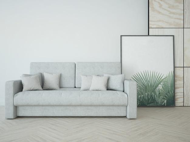 Chambre avec canapé et grande image dans le cadre
