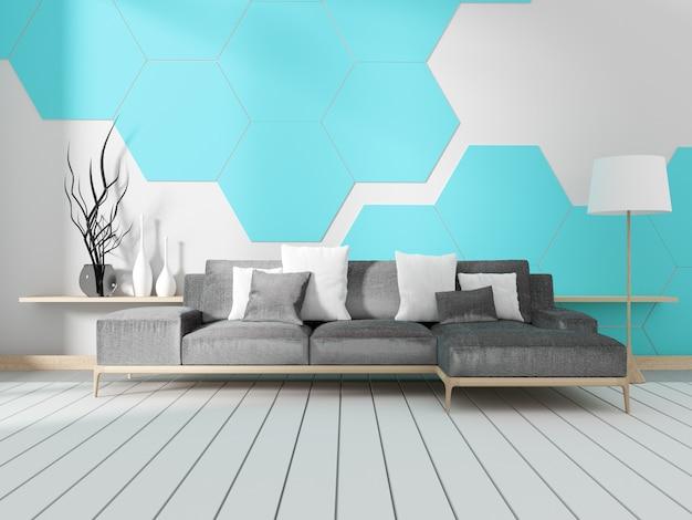 Chambre avec canapé et mur de carreaux hexagonaux bleus. rendu 3d