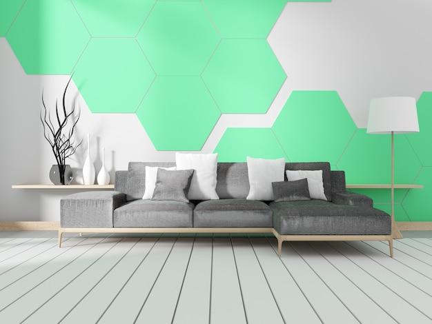 Chambre avec canapé et mur de carrelage hexagonal à la menthe. rendu 3d