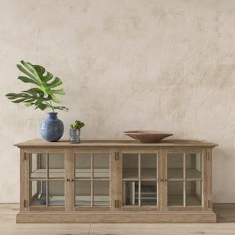 Chambre de conception côtière dans un fond intérieur de maison confortable, illustration de rendu 3d de style hampton