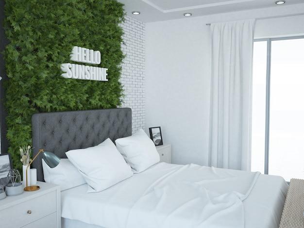 Chambre confortable en brique avec mur de plantes