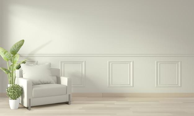 Chambre contemporaine moderne vide et mur design avec moulures, fauteuil et plantes de décoration