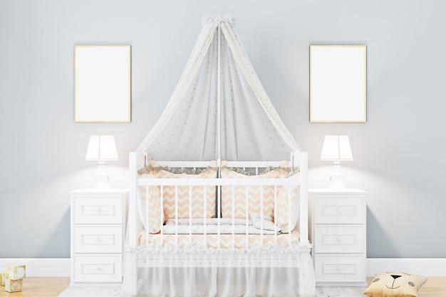 Chambre à coucher de crèche de cadre d'affiche de maquette et mur gris