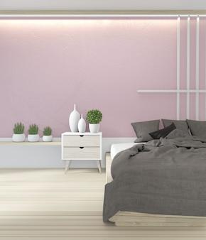 Chambre à coucher design rose japonais de couleur rose