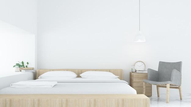 Chambre à coucher intérieur style minimaliste -3d rendu décoration fond blanc