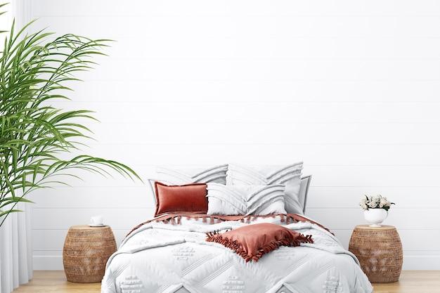 Chambre à coucher de maquette de mur blanc dans le style boho