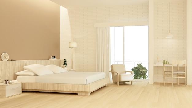 Chambre à coucher meubles de l'espace intérieur rendu 3d et décoration murale de fond
