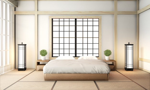 Chambre à coucher ryokan de style très japonais avec sol en tatami et décoration. rendu 3d