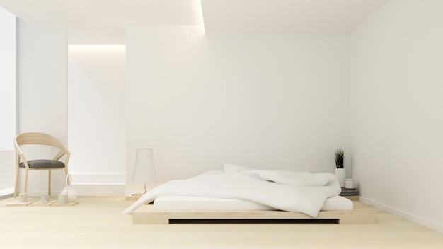 Chambre à coucher et salon dans un hôtel ou un appartement - aménagement intérieur - rendu 3d