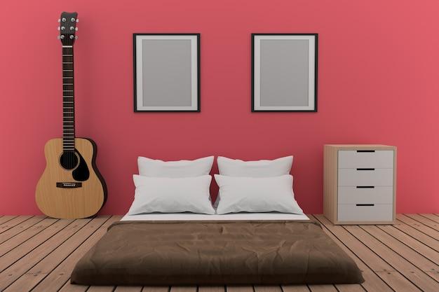 Chambre dans une chambre rose avec guitare acoustique en rendu 3d
