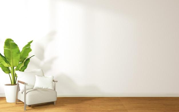 Chambre dans un style tropical avec des canapés et des plantes en pot rendu 3d