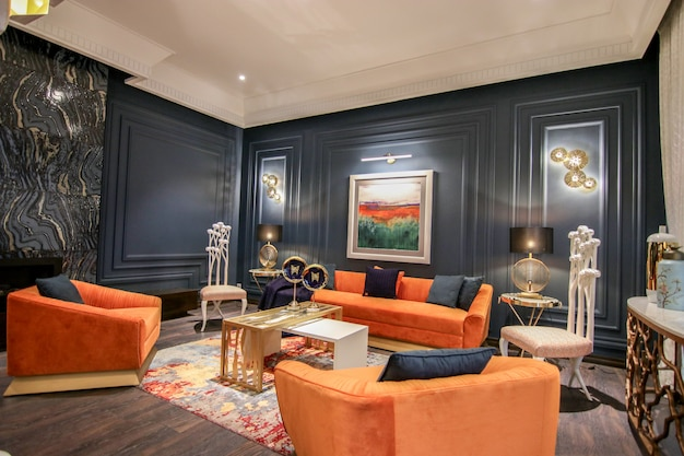 Chambre de dessin moderne et de luxe et salle à manger;