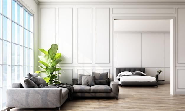 Chambre éclairée avec des murs lambrissés et des meubles