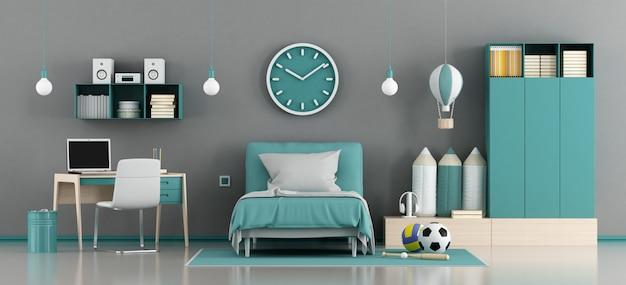 Chambre enfant bleu et gris