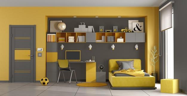 Chambre enfant gris et jaune