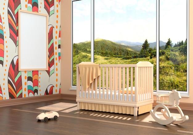 Chambre d'enfant avec un lit et un cadre vide