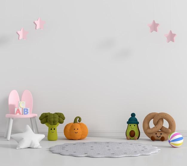 Chambre d'enfants blanche avec espace copie