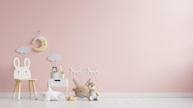 Chambre d'enfants dans un mur de couleur rose clair