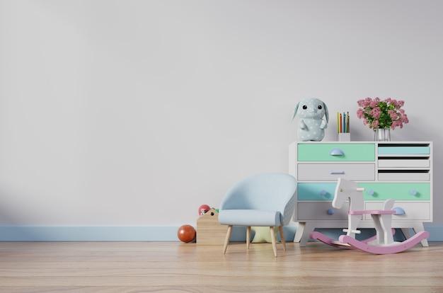 Chambre d'enfants avec fauteuil et cabinet.