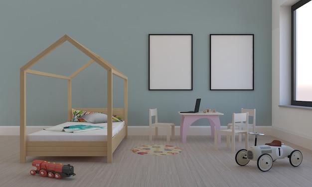 Chambre d'enfants, maison de jeu, meubles pour enfants avec jouet et maquette à deux cadres
