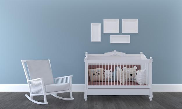 Chambre d'enfants, maison de jeu, meubles pour enfants avec jouet et maquette à quatre cadres