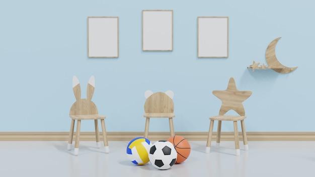 La chambre des enfants maquette a 3 cadres sur le mur, avec une chaise pour enfant et un ballon de football placé devant.