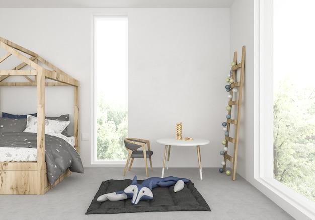 Chambre d'enfants avec mur blanc