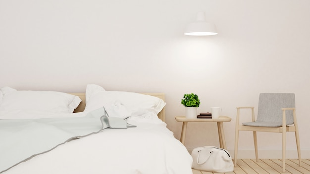 Chambre et espace de vie dans un hôtel ou un appartement