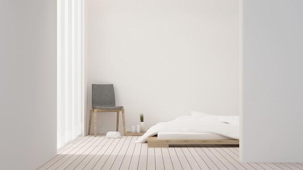 Chambre et espace de vie espace intérieur minimal dans la décoration de l'hôtel - rendu 3d