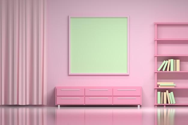 Chambre girly rose avec maquette de cadre photo