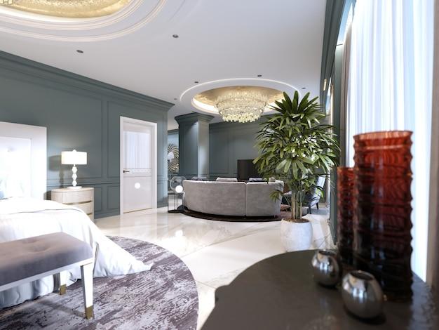 Chambre d'hôtes dans un luxueux hôtel neuf avec open space, une chambre et un salon séjour. rendu 3d.