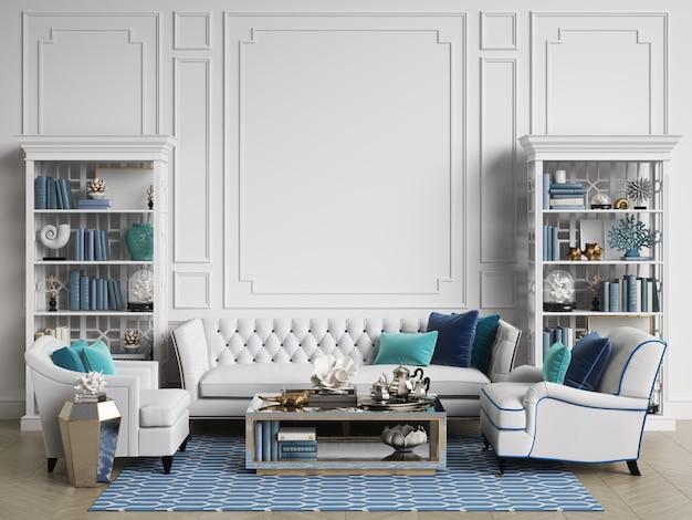 Chambre intérieure classique aux couleurs bleu et blanc avec espace copie