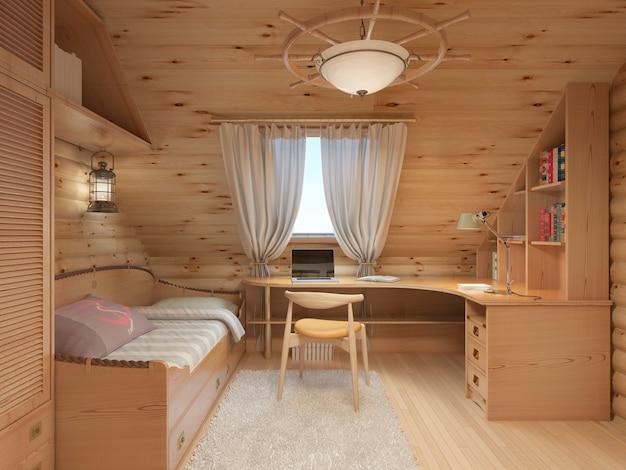 Chambre intérieure en rondins pour un adolescent du bois dans un style et un décor marins