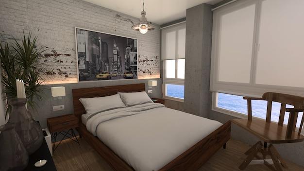 Chambre avec lit double de style loft industriel et fenêtres avec vue sur la mer
