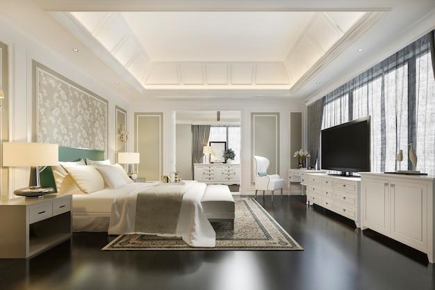 Chambre de luxe classique de rendu 3d avec table de maquillage près de la fenêtre