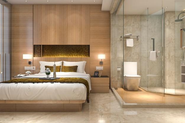 Chambre de luxe et salle de bains de luxe en rendu 3d