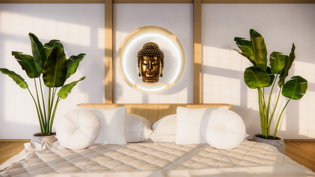 Chambre maquette avec lit en bois au design minimaliste japonais. .