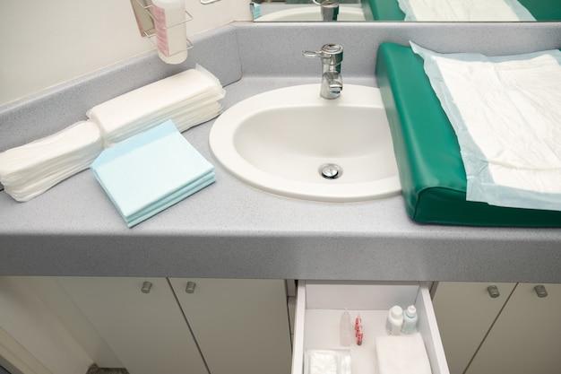 Chambre à la maternité avec le nécessaire pour la mère et l'enfant. pampers, serviettes hygiéniques, antiseptiques, tampons