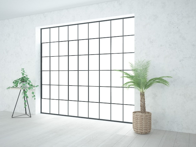 Chambre avec mezzanine et petites plantes d'intérieur