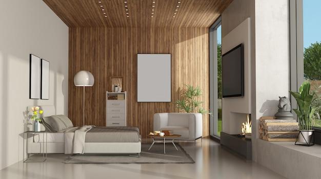 Chambre minimaliste blanche et en bois avec cheminée