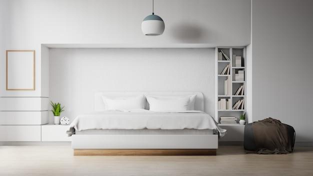 Chambre moderne avec une affiche vide sur le mur