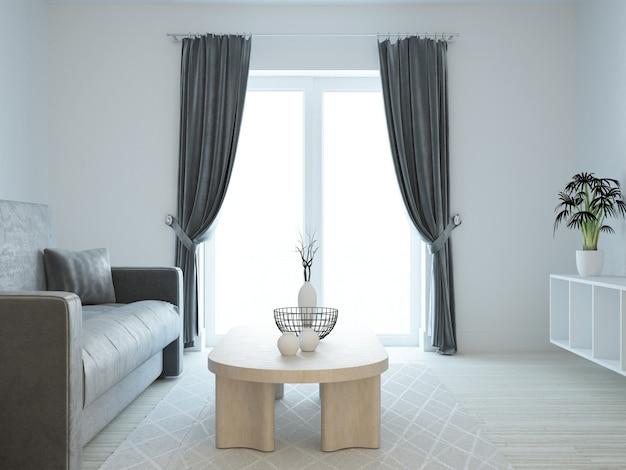 Chambre moderne blanche avec des rideaux de velours foncé