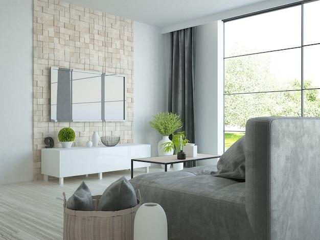 Chambre moderne avec canapé et télévision avec vue sur le jardin à travers les fenêtres de la terrasse