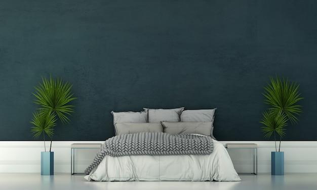 La chambre moderne et la décoration de meubles simulés et le fond de mur bleu vide