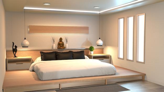 Chambre moderne et paisible. chambre de style zen. chambre paisible et sereine.
